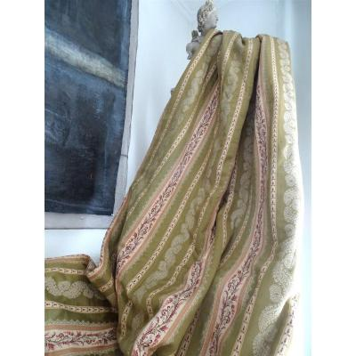 Bedcover  Or Wide Piece Of Antique French  Fabric Nineteenth Silk And Linen