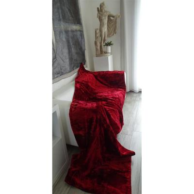 Pair Of Old Hangings Velvet Red Silk XIXth Old Curtains