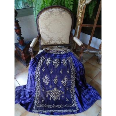 Beautiful Old Velvet Skirt And Ottoman Embroidery XIII Silver Trims
