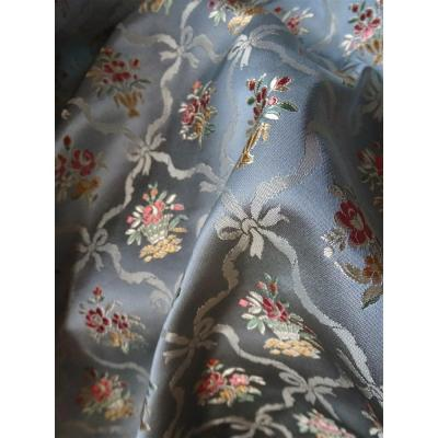 Fabric Satin Silk Fabric Louis XVI Flowers Bouquets And Flower Baskets Ribbons