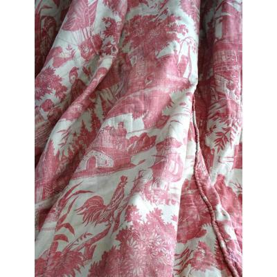 Toile De Jouy Old Fabric Of Pink Cotton Wide  Bedcover  Or 18th Century Wall Hanging