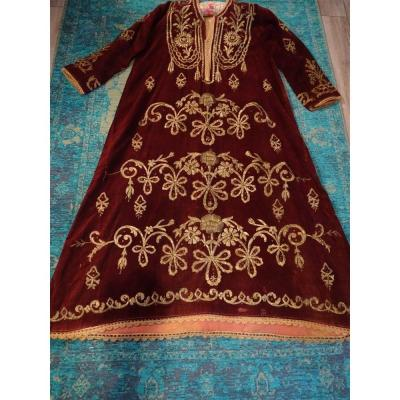Ottoman Art Ottoman Wedding Dress Turkey XIXth Velvet Bordered With Metallic Threads