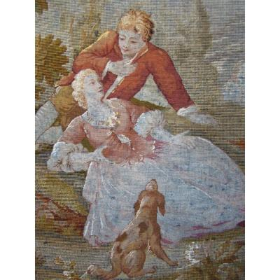 Suite Of 3 Tapestries Petit Point French School XIXth