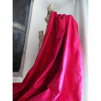 Pair Of Hangings In Wild Silk Very Beautiful Pink Color With Changing Reflections