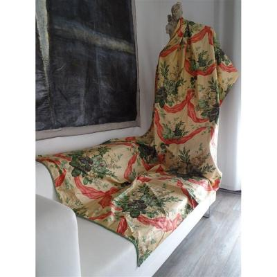 A Hanging In Chintz With Lovely Floral Decor And Wide Ribbons
