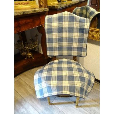 2 Cushion Covers In Blue And White Linen Checks Old Fabric