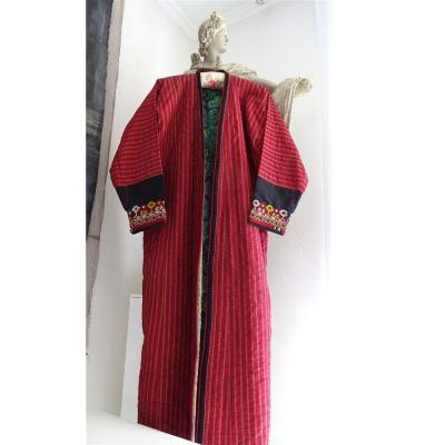 Central Asian Striped Silk Dress And Decorative Embroidery Early XXIst