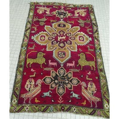 Oriental Christian Carpet Originating From Twentieth Armenia. 193 Cm X 122 Cm