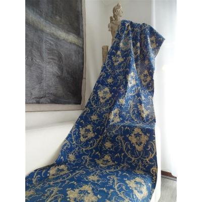 Toile Bleue Imprimée XIXème Decor Floral Papillons Et Oiseaux