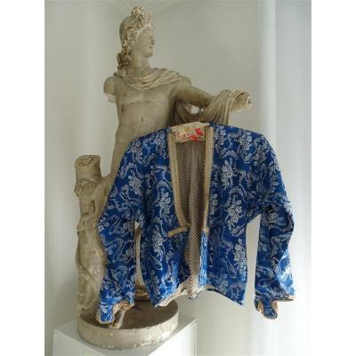 Ravissante Veste Ottomane En Soie Bleue époque XIXème Galon Doré