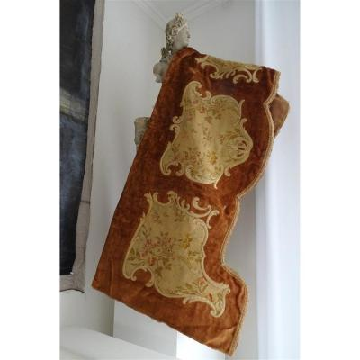 Second Nineteenth Valance In Velvet And Silk Appliques With Floral Decor