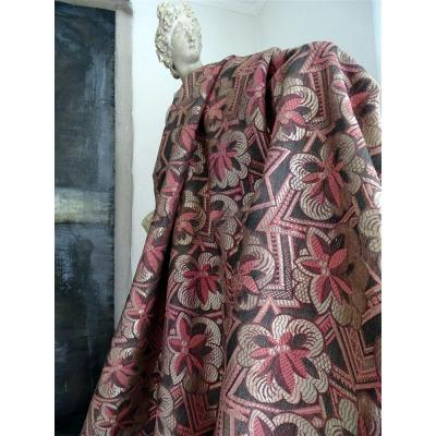 Pair Of Old Pink, Silver And Dark Gray Art Deco Drapes Old Curtains