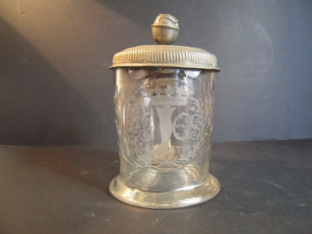 Mug Glass Decorated And Dated With Lid Tin XVIII