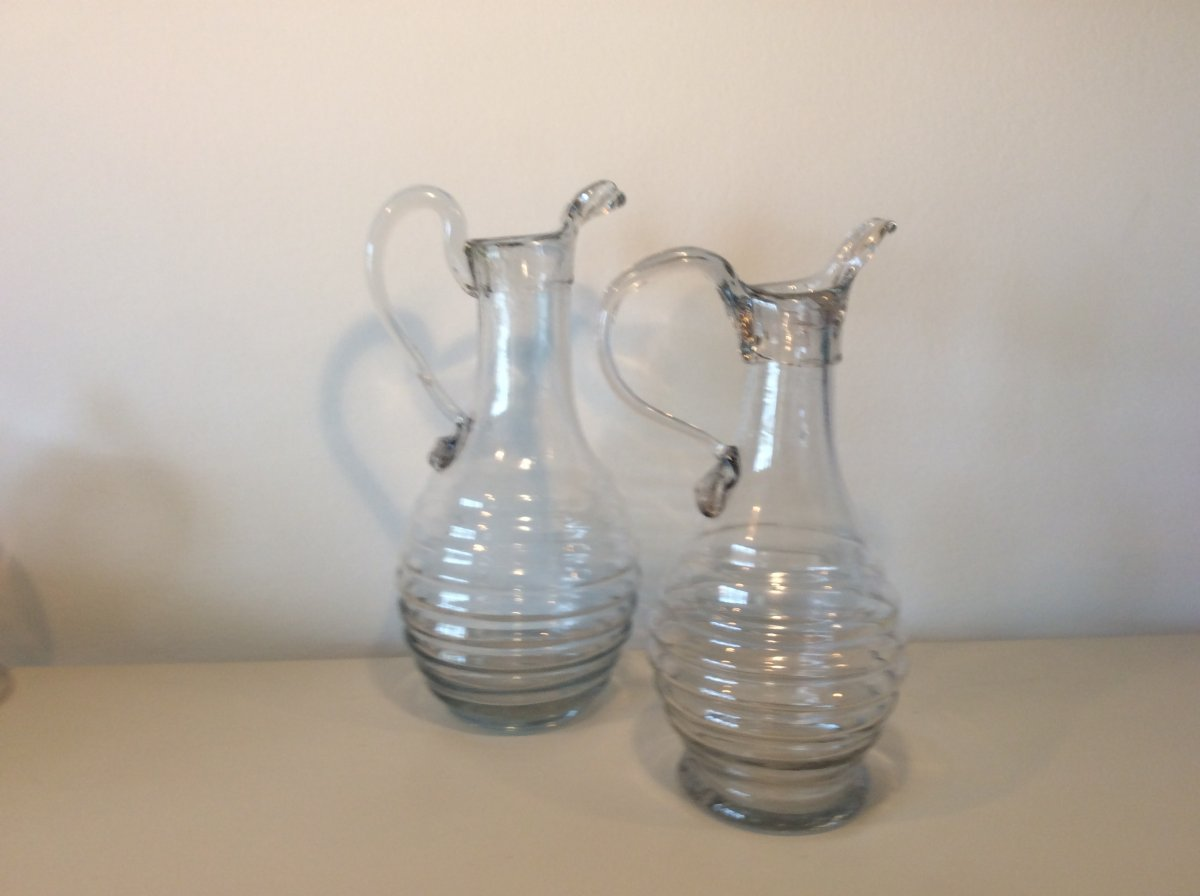 Two Glass Cider Pitchers Early XIX
