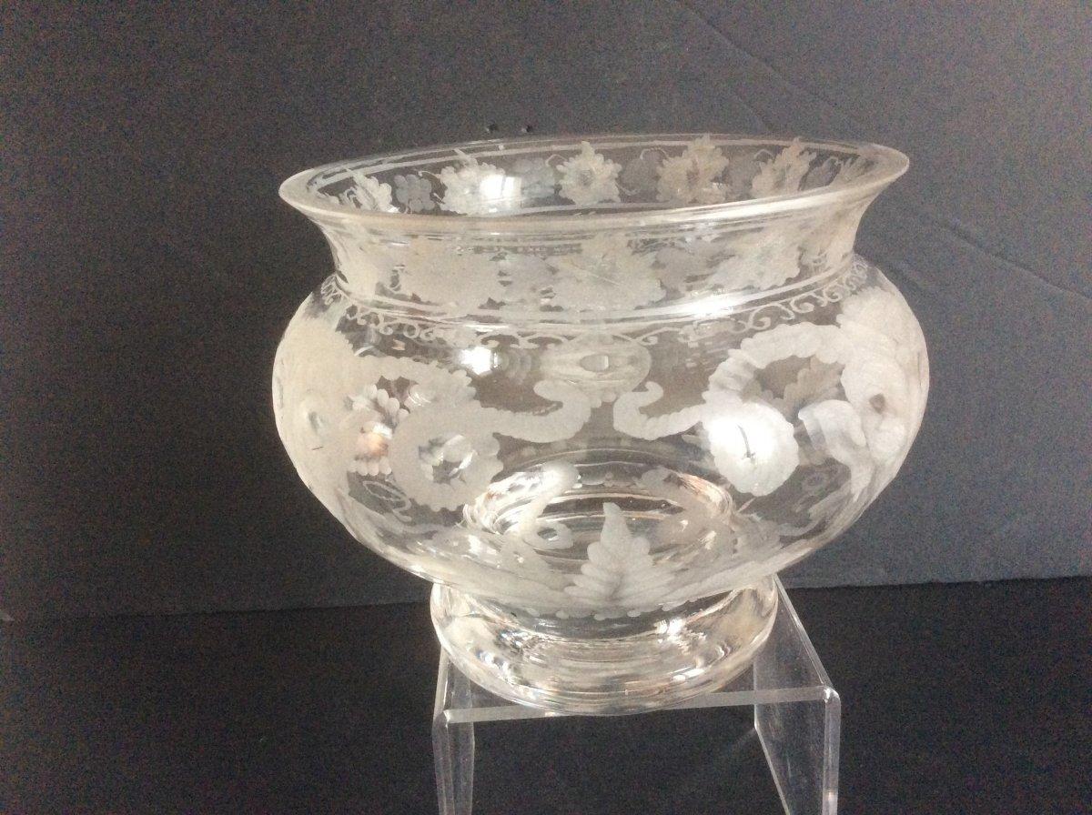 Vase En Verre Gravé Par Hinsberger XX Siecle