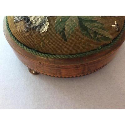 Small Foot Wooden Foot With Tapestry Beads Charles X