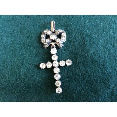 Silver Cross With Rhinestones Normandy XIX S.
