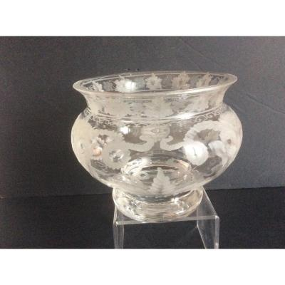 Engraved Glass Vase By Hinsberger XX Siecle
