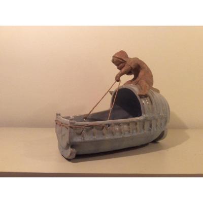 L'enfant au berceau. Ceramique  De Robalbehn   XIX -XX siecle