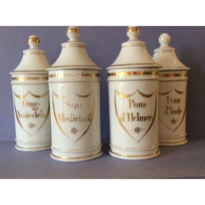 Pots  De Pharmacie Porcelaine  XIX Siecle