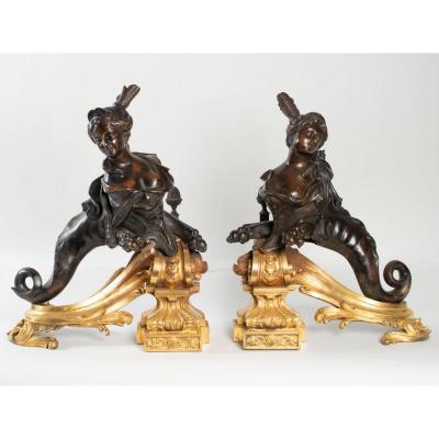 Paire De Chenets En Bronze à Décor De Chimère XIXéme Siècle