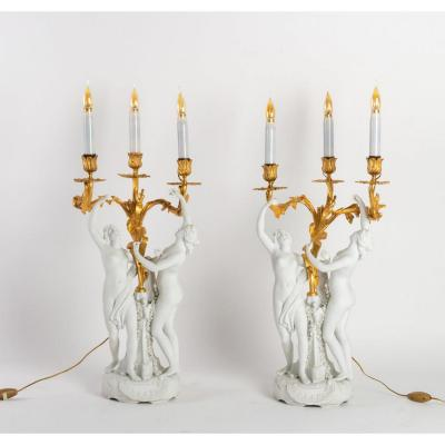 Pair Of Candelabras In Biscuit And Gilt Bronze Louis XV Style