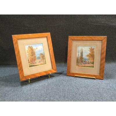"Pair Of ""les Lavandières"" Watercolors"