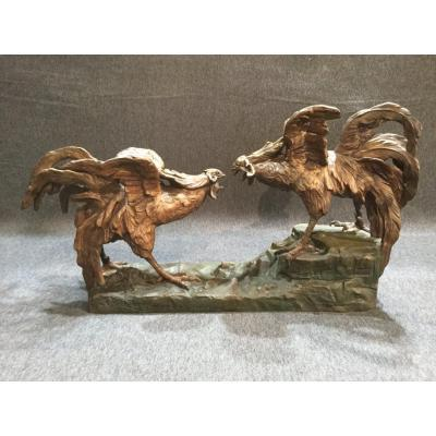 """""""cockfight"""" Subject In Patinated Regulates"""