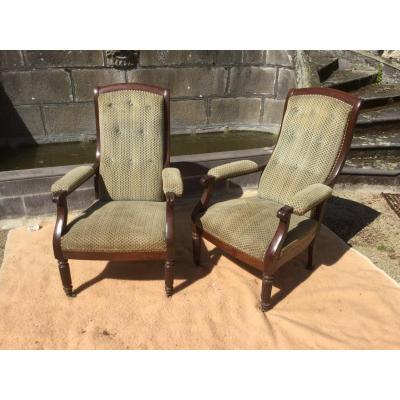 Pair Of XIXth Mahogany Armchairs