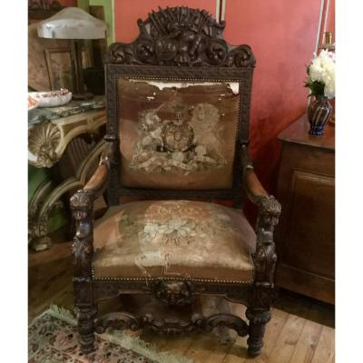 State Armchair With Military Attributes Decor