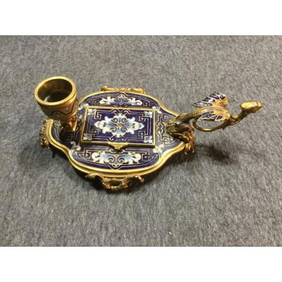 Candlestick Hand Bronze And Cloisonne Enamel Nineteenth