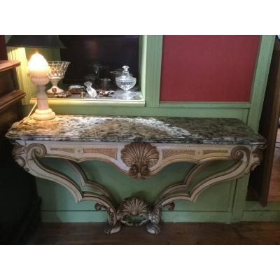 Console En Bois Sculpté Doré Et Laqué Italie XVIIIe