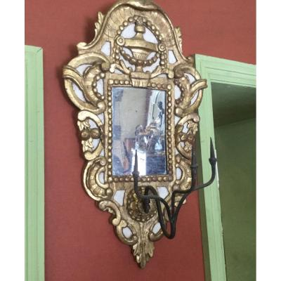 Mirror In Carved Gilded And Lacquered Wood Italy Eighteenth