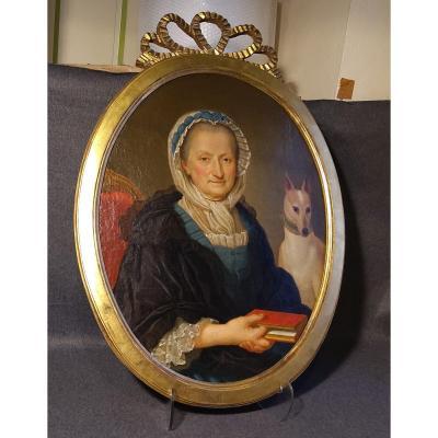 Portrait De Dame Avec Son Chien XVIII e