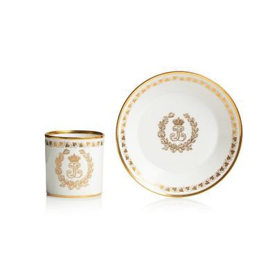 Tasse litron & sa soucoupe en porcelaine de Sèvres Du service des Princes du roi Louis-Philippe