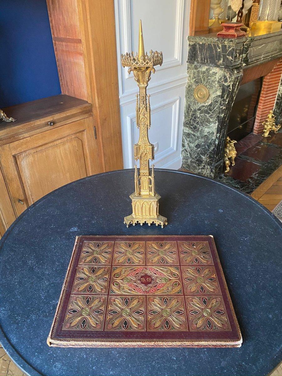 Pique Cierge  en métal doré  de style Néogothique XIXe siècle-photo-4