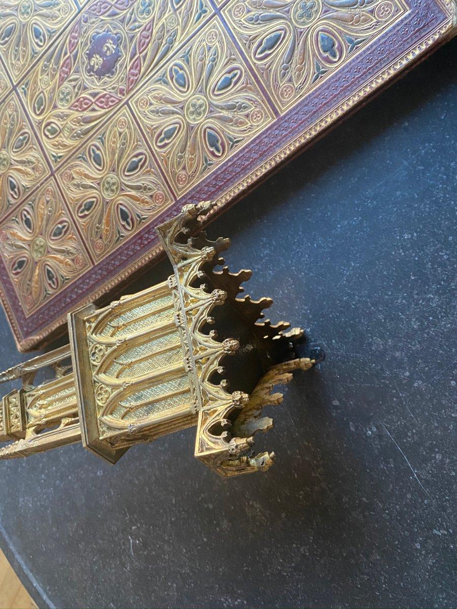 Pique Cierge  en métal doré  de style Néogothique XIXe siècle-photo-2