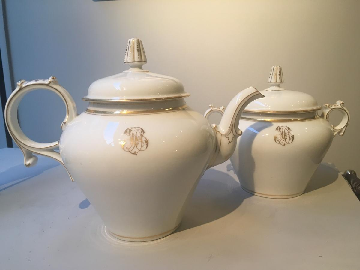 Porcelain Teapot And Sugar Circa 1900