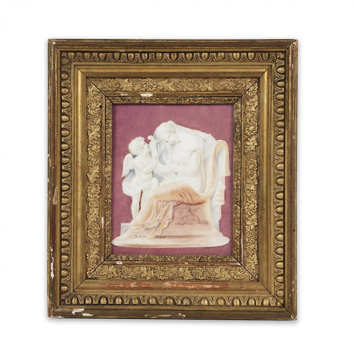 Porcelain Plaque With Polychrome Decoration Imitating An Agate Cameo