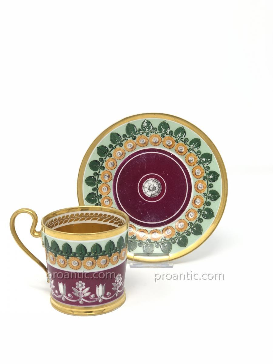 Sevres A Louis XVIII Sèvres Porcelain Cup And Saucer With Flowers And Palms