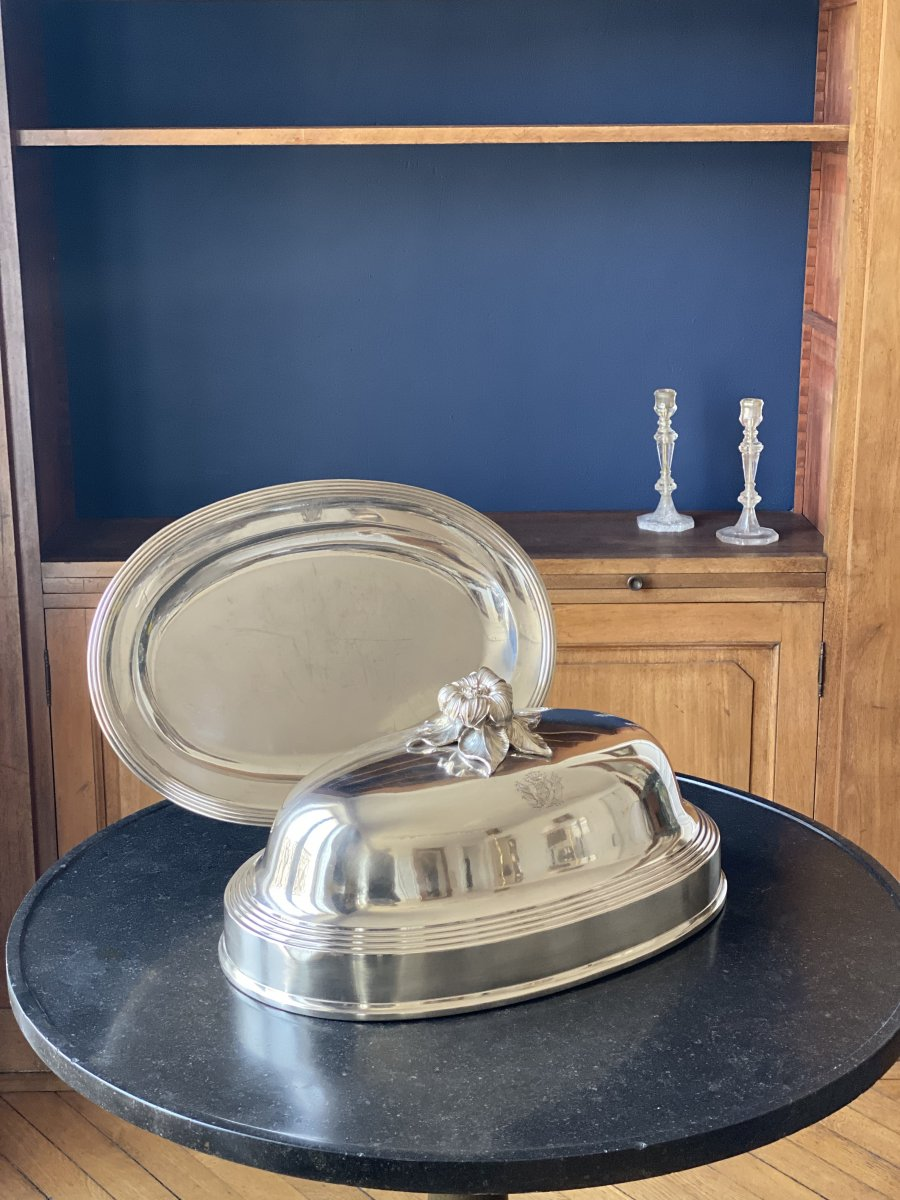 Rare Silver Plated Cover Dish By Christofle From King Louis-philippe Service At Château d'Eu