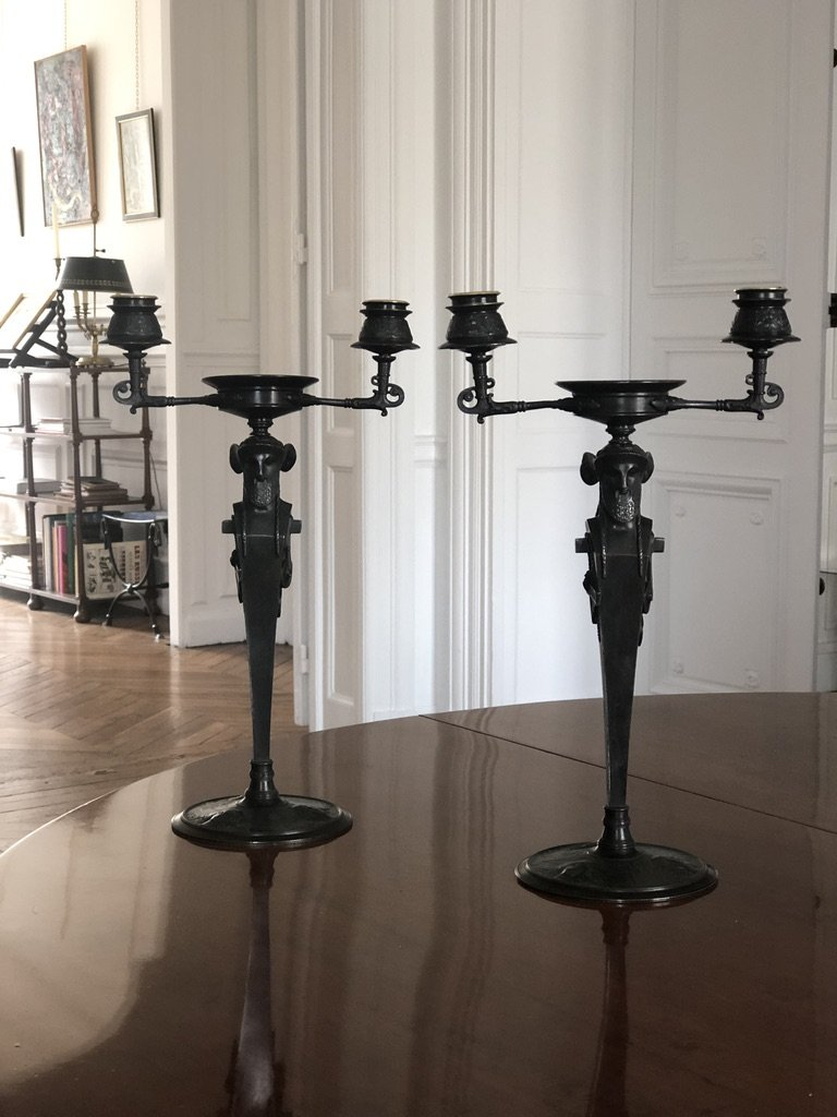 Pair Of Patinated Bronze Candelabra Of Neo-greek Style From Napoleon III Period