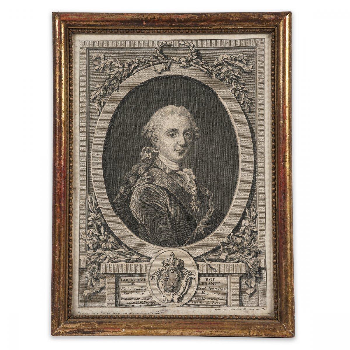 Gravure Figurant Le Roi Louis XVI De France, Estampe Par Cathelin Du XVIIIe Siècle VERSAILLES