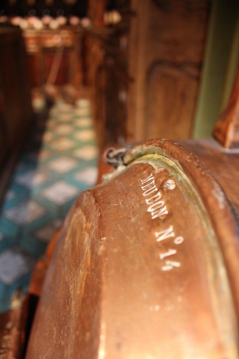 Tourtière avec son anneau de suspension en Cuivre provenant du Château de Meudon