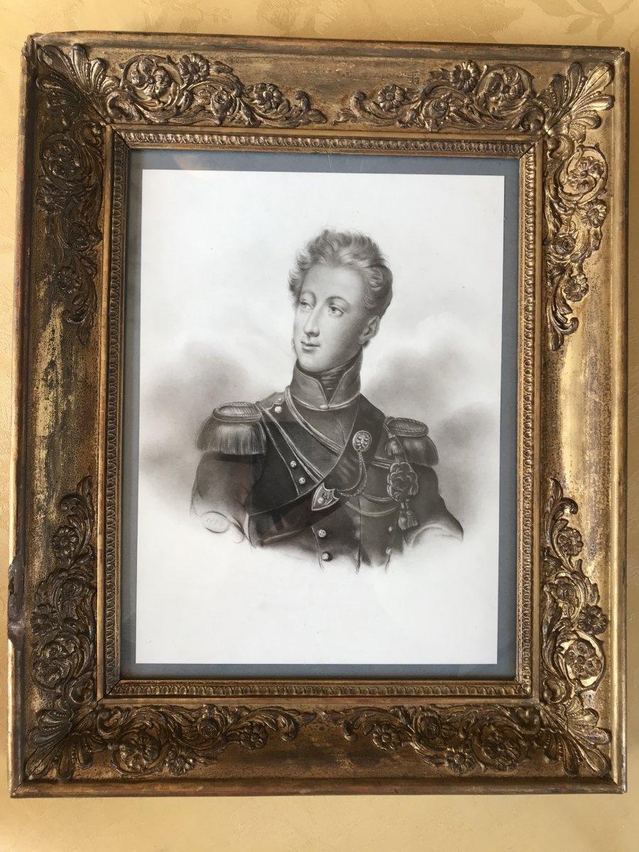 Dessin à la mine de plomb sur papier figurant Le Duc De Nemours, Fils Du Roi Louis-philippe