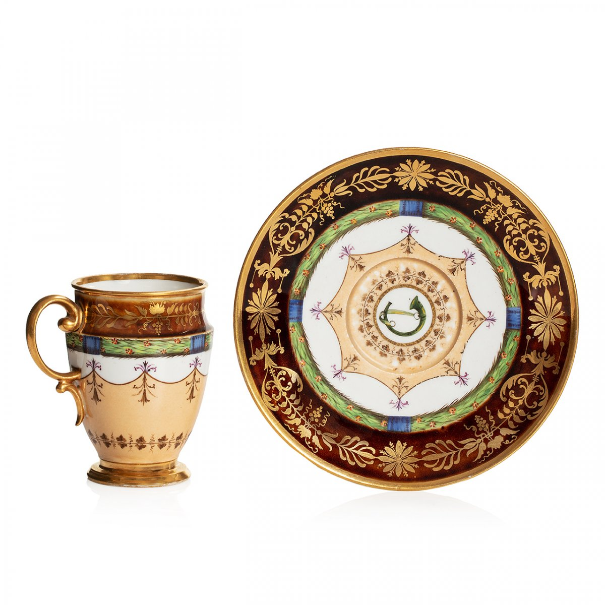Rare Sèvres Porcelain Cup And Saucer With A Tortoiseshell Ground, Consulat Period