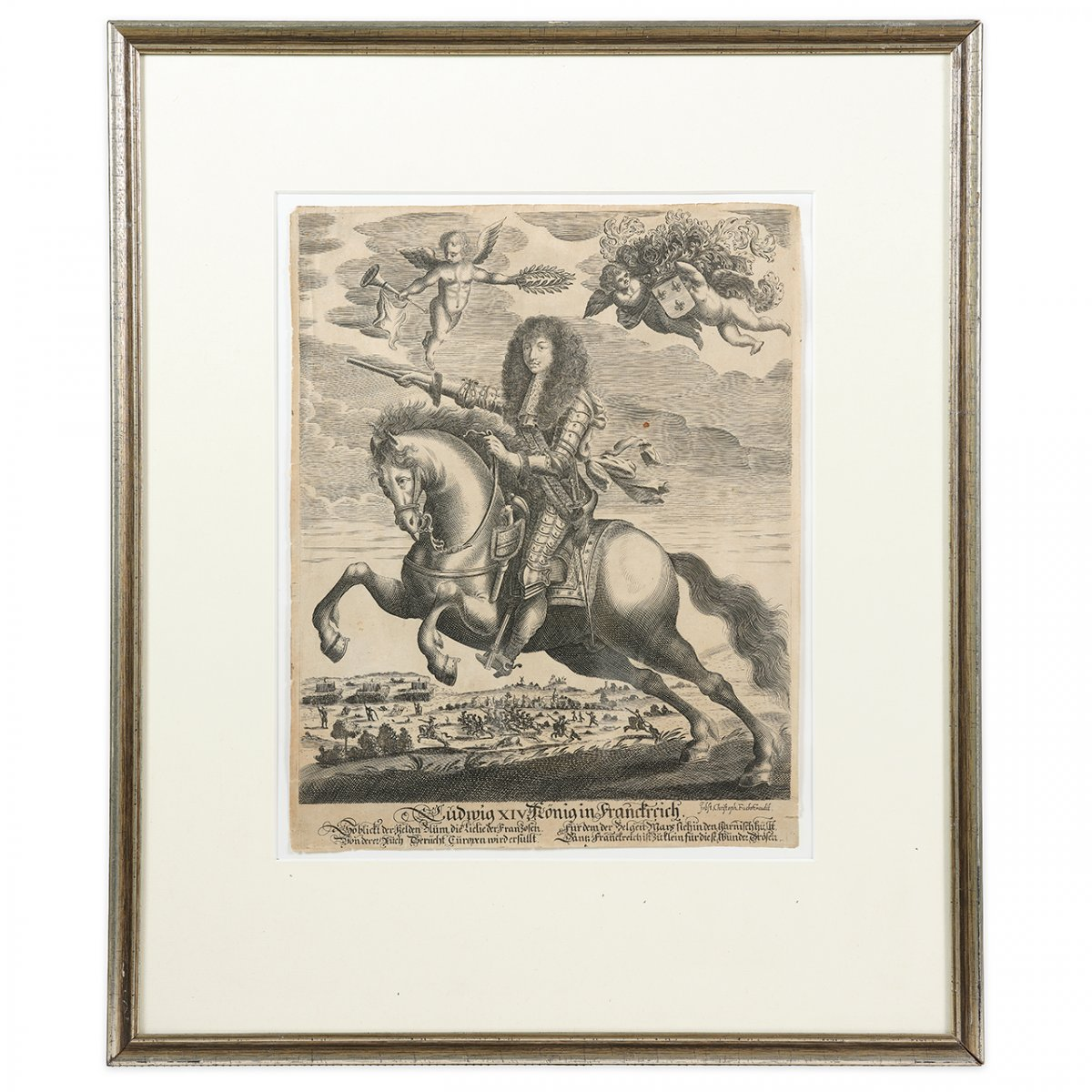 Equestrian Portrait Of Louis XIV During The Siege Of Namur, Engraving After Pierre Mignard-photo-2