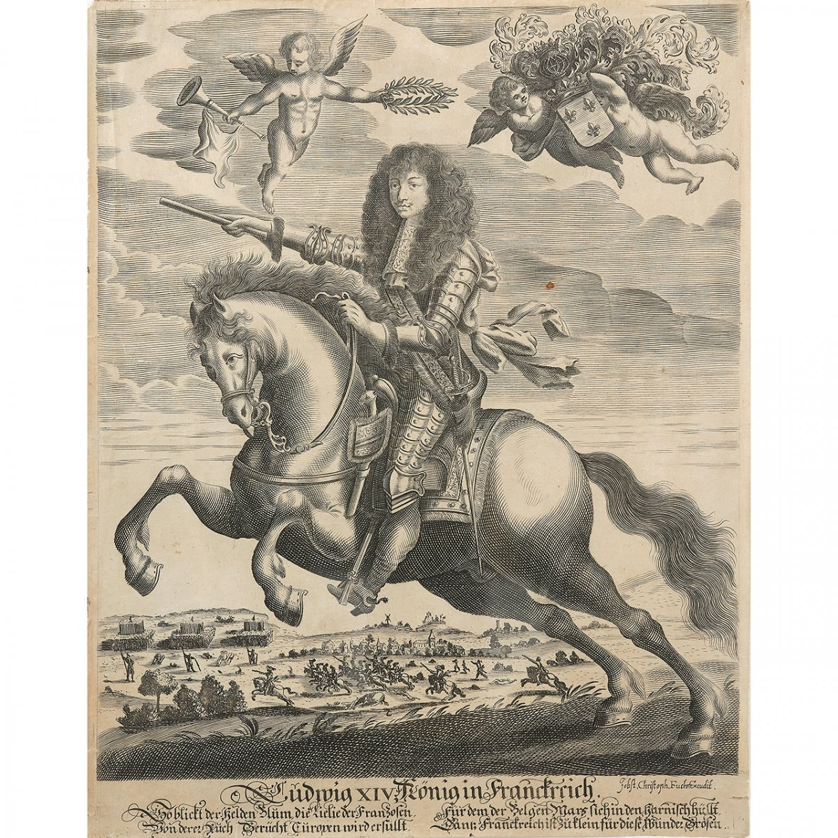 Equestrian Portrait Of Louis XIV During The Siege Of Namur, Engraving After Pierre Mignard