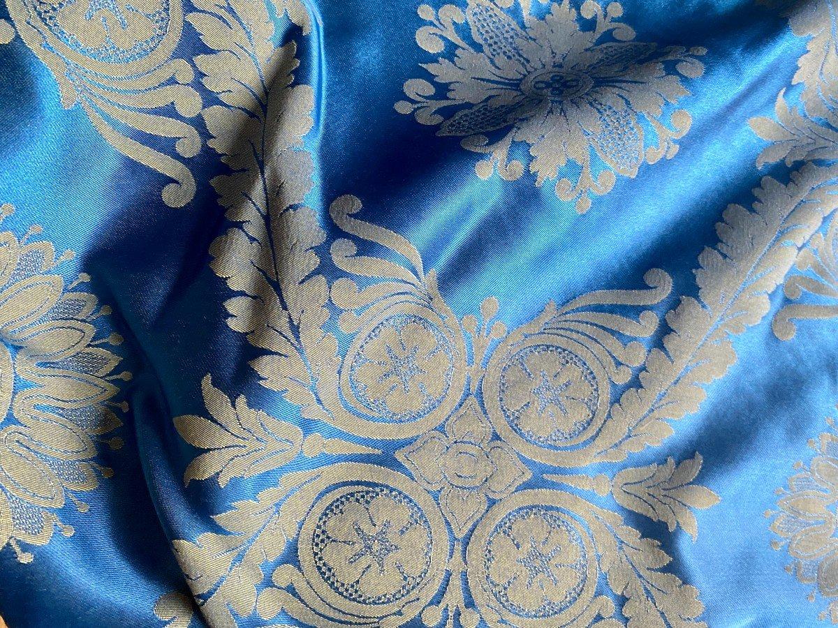 Pair Of Royal Blue Satin Curtains