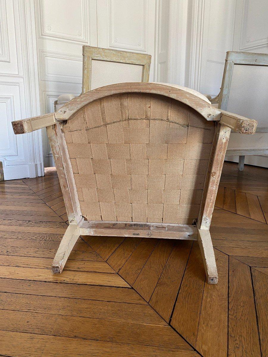 ENSEMBLE DE 3 BERGÈRES ET 2 CHAISES D'ÉPOQUE EMPIRE Provenant du Château de Fontainebleau-photo-1